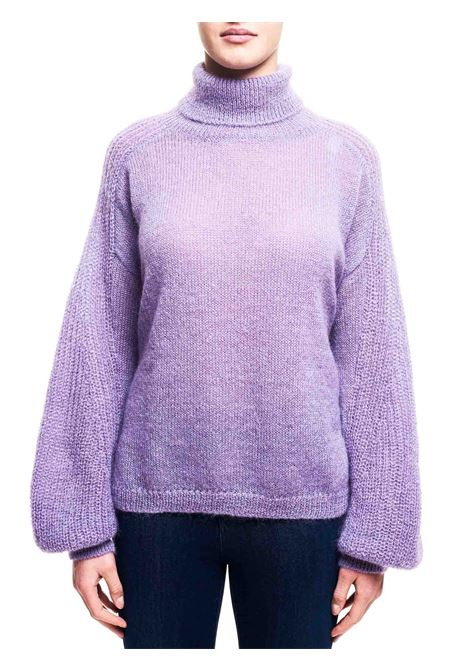 PURPLE SWEATER IN MIXED MOHAIR AND WOOL HIGH NECK ALBERTA FERRETTI | Sweaters | A09195103274