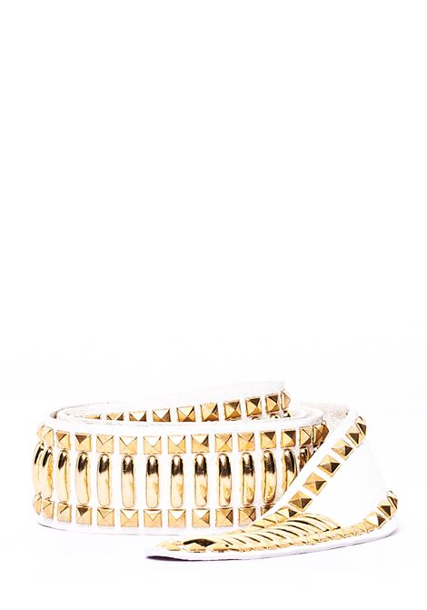 WHITE NAPPA BELT WITH STUDS APPLICATION ALBERTA FERRETTI | Belts | A300151931003
