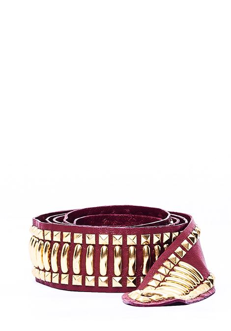 BORDEAUX NAPPA BELT WITH STUDS APPLICATION ALBERTA FERRETTI | Belts | A300151931140