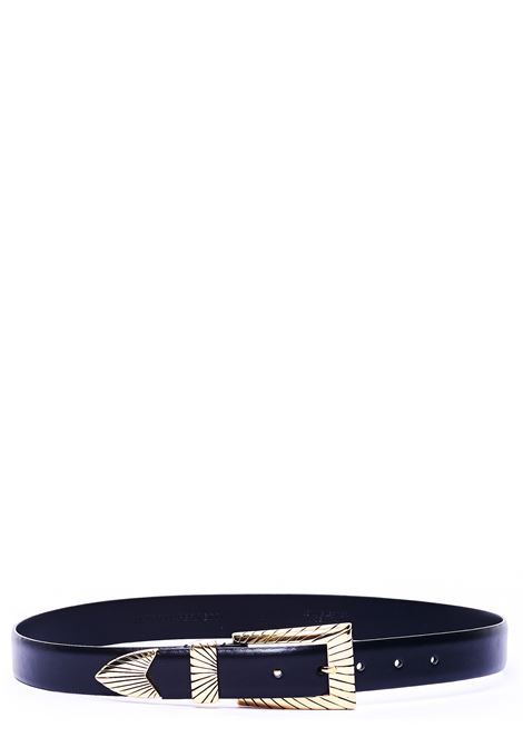BLACK LEATHER BELT WITH CHISELED BUCKLE ALBERTA FERRETTI | Belts | A300551941555