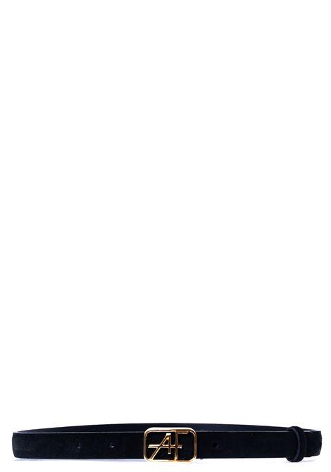 BLACK AF LOGO BELT IN SUEDE ALBERTA FERRETTI | Belts | A300766851555
