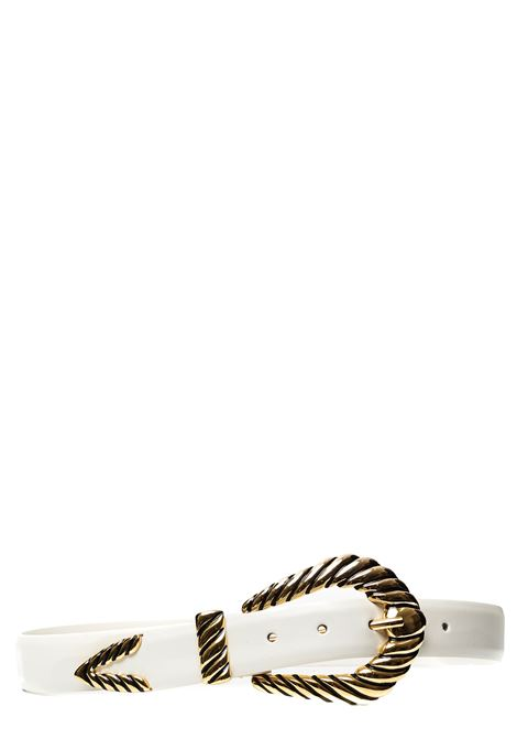 WHITE LEATHER BELT WITH GOLD METAL BUCKLE ALBERTA FERRETTI | Belts | A301066831002
