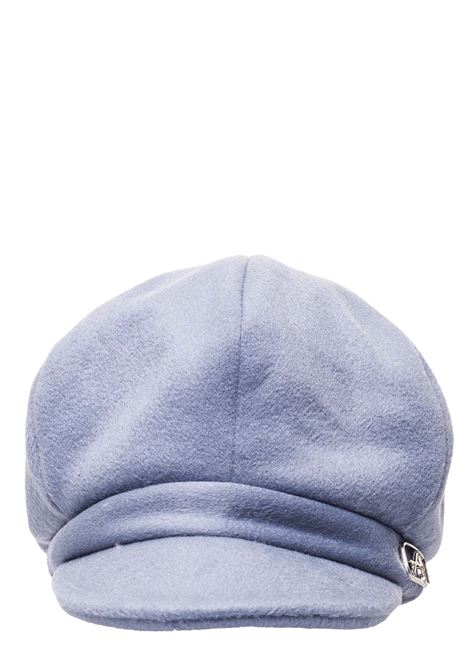 LIGHT BLUE WOOL HAT WITH METAL LOGO APPLICATION ALBERTA FERRETTI | Hats | A36016629507