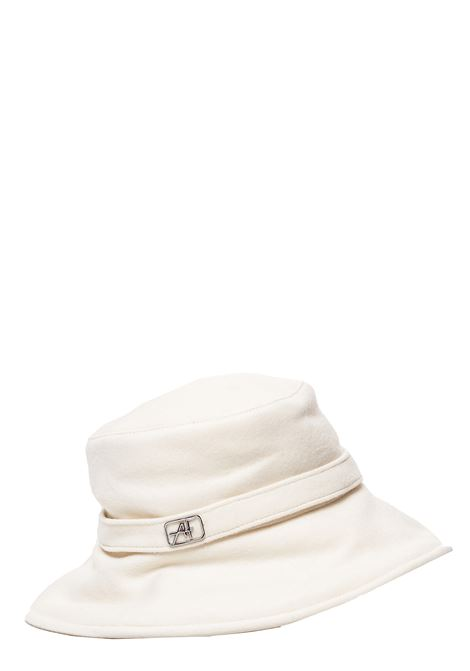 WHITE WOOL HAT WITH METAL LOGO APPLICATION ALBERTA FERRETTI | Hats | V360266293
