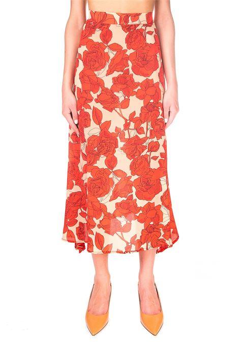 ROSES FANTASY SKIRT IN SILK ALYSI | Skirts | 150044A0206ARANCIO