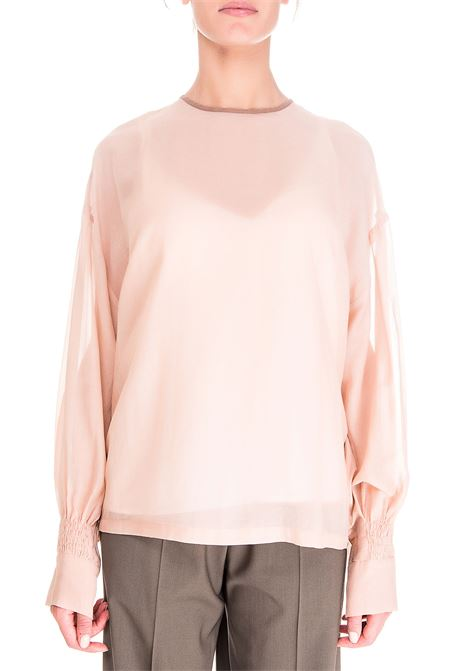 POWDER PINK BLOUSE VOILE WASHED MODEL IN COTTON BLEND ALYSI | Blouse | 150213A0003CIPRIA