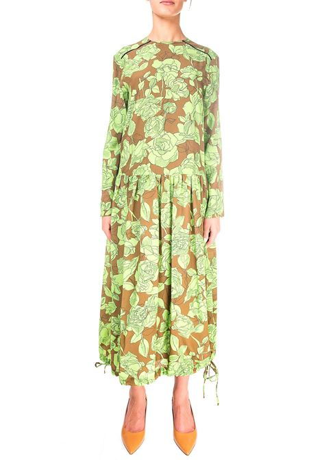 ROSES FANTASY MIDI DRESS IN SILK ALYSI | Dress | 150378A0206NEON