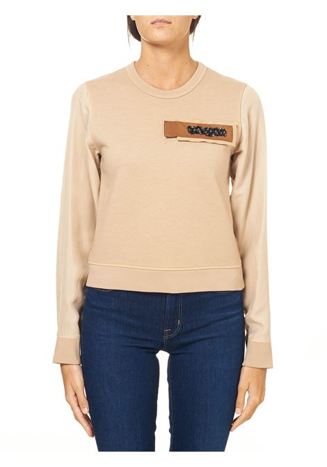 BEIGE COTTON SWEATSHIRT WITH SILK SLEEVES ALYSI | Sweatshirts | 150423A0254VANIGLIA