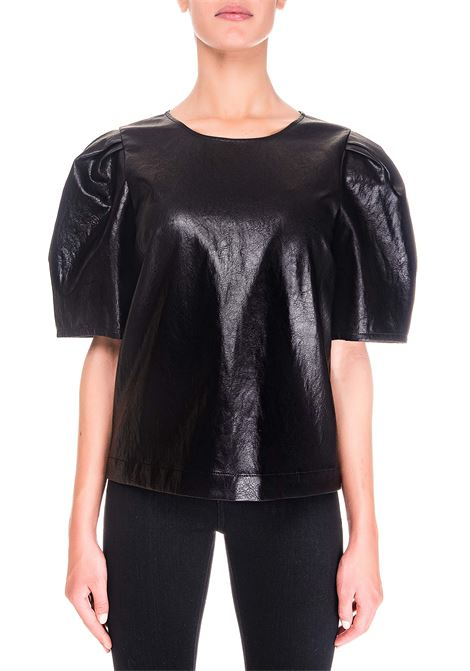 BLACK T-SHIRT IN ECO-LEATHER BOUTIQUE MOSCHINO | T-shirt | 022761200555