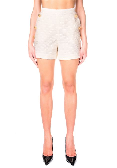 WHITE SHORTS IN MAT WITH GOLD BUTTONS BOUTIQUE MOSCHINO | Shorts | 031061160002