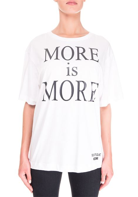 WHITE COTTON T-SHIRT MORE IS MORE MODEL BOUTIQUE MOSCHINO | T-shirt | 120261403001