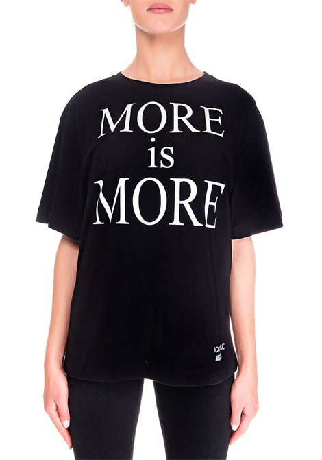 BLACK COTTON T-SHIRT MORE IS MORE MODEL BOUTIQUE MOSCHINO | T-shirt | 120261403555