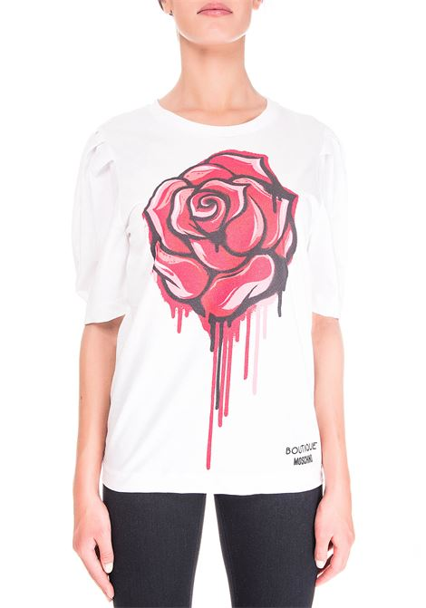 WHITE COTTON T-SHIRT WITH FRONT LOGO PRINT BOUTIQUE MOSCHINO | T-shirt | 120361401001
