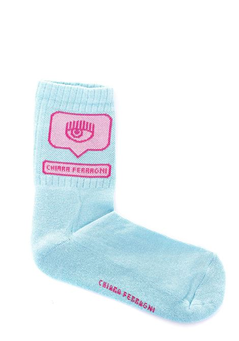 LIGHT BLUE COTTON SOCKS WITH EYELIKE INLAY CHIARA FERRAGNI | Socks | CFCL017AZZURRO