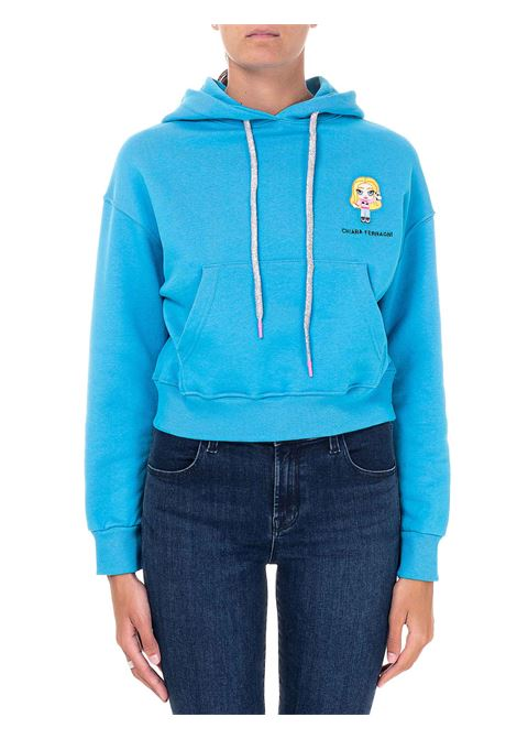 CROP LIGHT BLUE SWEATSHIRT IN COTTON MODEL HOODIE @CFMASCOTTE CHIARA FERRAGNI | Sweatshirts | CFF118OCEANO