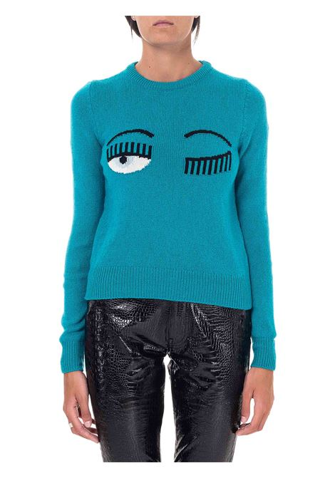GREEN SWEATER IN WOOL AND CASHMERE BLEND FLIRTING MODEL CHIARA FERRAGNI | Sweaters | CFJM038OCEAN