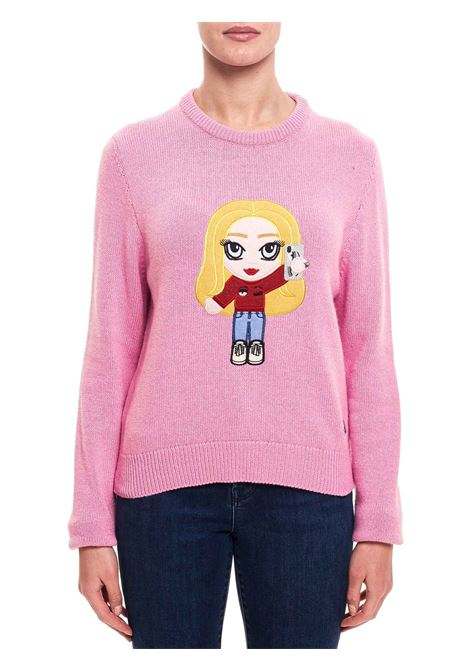 PINK SWEATER IN MIXED WOOL AND CASHMERE MODEL @CFMASCOTTE CHIARA FERRAGNI | Sweaters | CFJM043ROSA