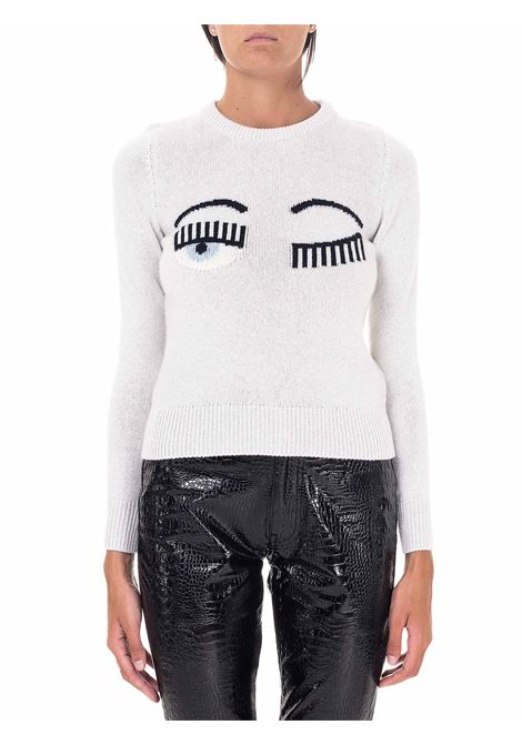 WHITE SWEATER IN MIXED WOOL AND CASHMERE IN LUREX MODEL FLIRTING CHIARA FERRAGNI | Sweaters | CFJM050BIANCO