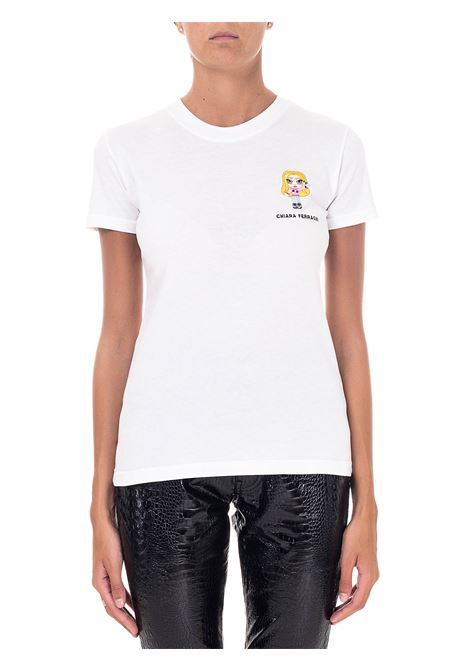 WHITE COTTON T-SHIRT MODEL @CFMASCOTTE CHIARA FERRAGNI | T-shirt | CFT102BIANCO
