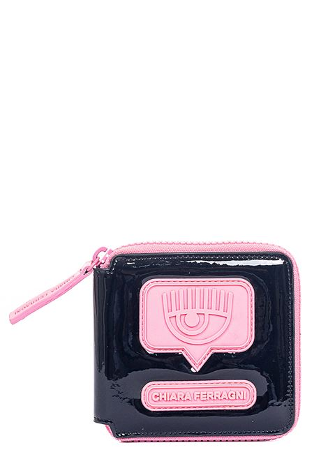 WALLET IN BLACK VENYL EYELIKE MODEL CHIARA FERRAGNI | Wallets | CFWA004NERO/ROSA