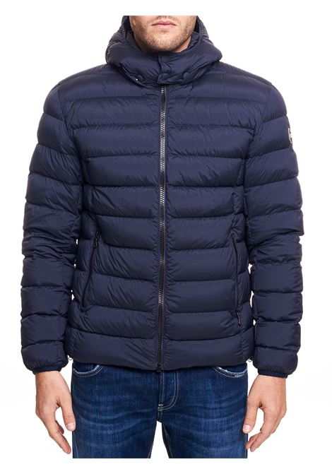 BLUE STRATCH DOWN JACKET WITH DETACHABLE HOOD COLMAR | Jackets | 1250R2SE68