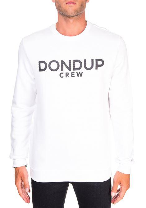 WHITE COTTON SWEATSHIRT WITH FRONT LOGO APPLICATION DONDUP | Sweatshirts | UF617KF0136ZK7DUW20000
