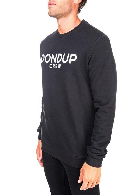 BLACK COTTON SWEATSHIRT WITH FRONT LOGO APPLICATION DONDUP | Sweatshirts | UF617KF0136ZK7DUW20999
