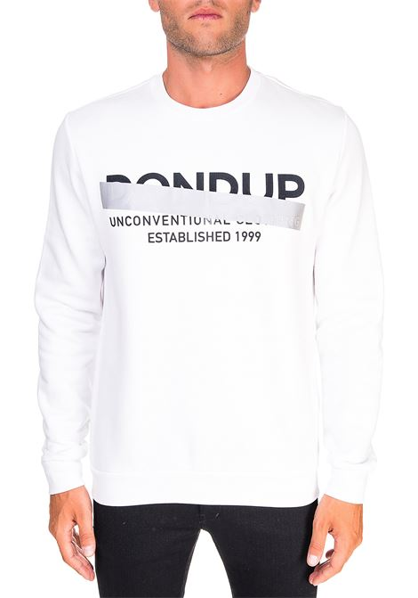 WHITE COTTON SWEATSHIRT WITH FRONT LOGO APPLICATION DONDUP | Sweatshirts | UF617KF0136ZK8DUW20000