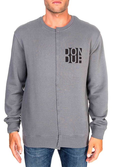GRAY COTTON SWEATSHIRT WITH FRONT LOGO PRINT DONDUP | Sweatshirts | UF631KF0151PTDDUW20908