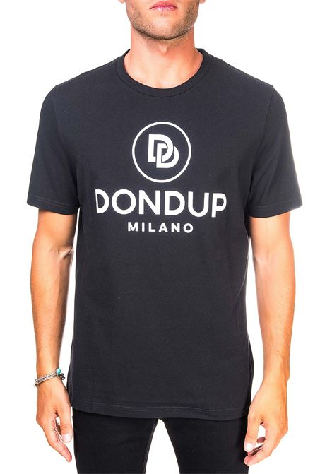 BLACK COTTON T-SHIRT WITH FRONT LOGO PRINT DONDUP | T-shirt | US198JF0271UZL5DUW20999