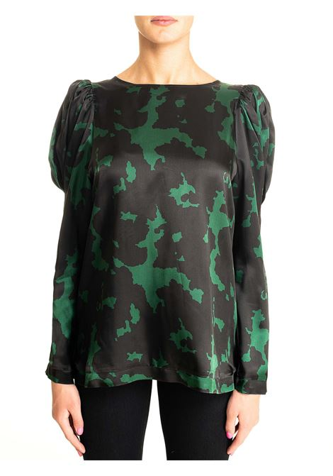 MULTICOLOR BLOUSE MODEL TIGLIO DOU DOU | Blouse | TIGLIO05DD05MARRONE/VERDE