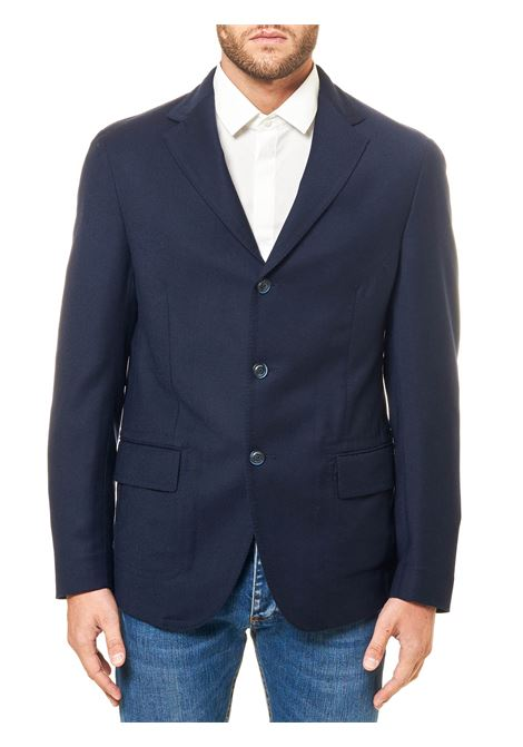 SINGLE-BREASTED BLUE WOOL JACKET ELEVENTY | Jackets | B70GIAA08TTET0B01011