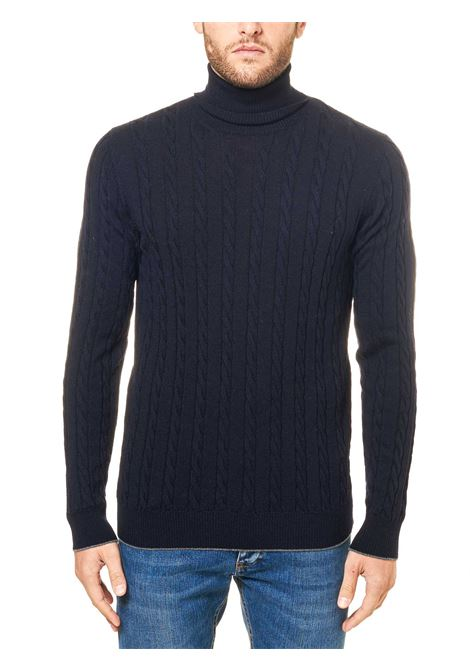 HIGH NECK BLUE WOOL SWEATER ELEVENTY | Sweaters | B71MAGB19MAG0B04311-15