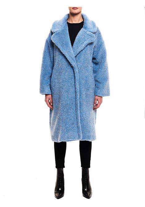 BLUE WOOL BLEND COAT WITH LUREX DETAILS FRONT STREET 8 | Coats | FR250CELESTE