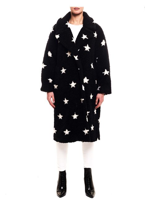 BLACK WOOL BLEND COAT WITH ALL OVER STAR INLAY FRONT STREET 8 | Coats | FR257NERO