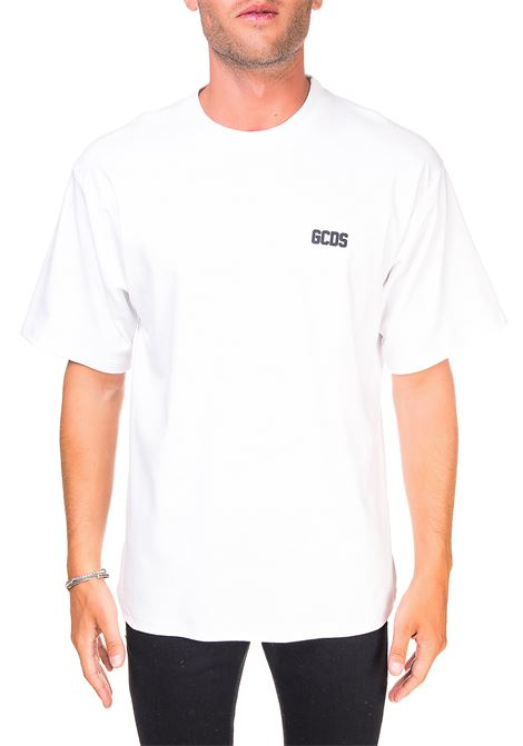 WHITE COTTON T-SHIRT WITH FRONT LOGO APPLICATION GCDS | T-shirt | CC94M021001BIANCO