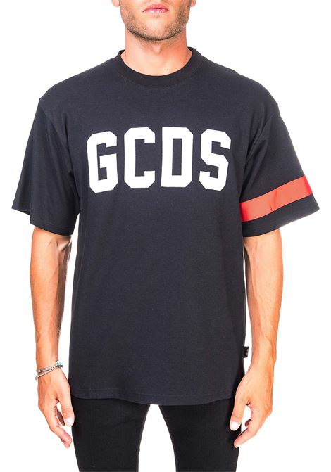 BLACK  COTTON T-SHIRT WITH FRONT LOGO EMBROIDERY GCDS | T-shirt | CC94M021004NERO