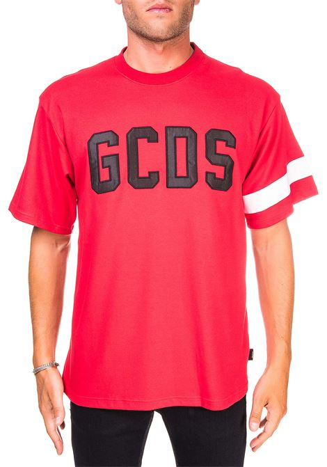 RED COTTON T-SHIRT WITH FRONT LOGO EMBROIDERY GCDS | T-shirt | CC94M021004ROSSO