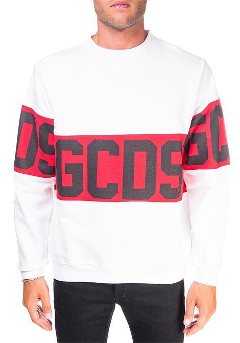 WHITE COTTON SWEATSHIRT WITH LOGO GCDS | Sweatshirts | CC94M021012BIANCO