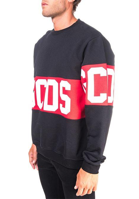 BLACK COTTON SWEATSHIRT WITH CONTRAST LOGO PRINT GCDS | Sweatshirts | CC94M021012NERO