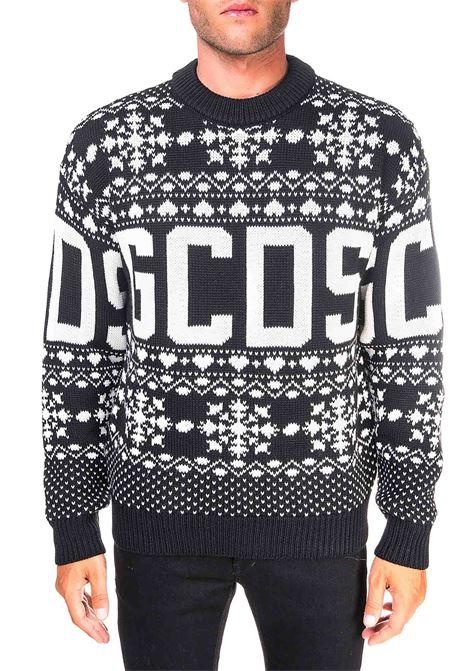 INTARSIA BLACK WOOL SWEATER GCDS | Sweaters | CC94M022203NERO