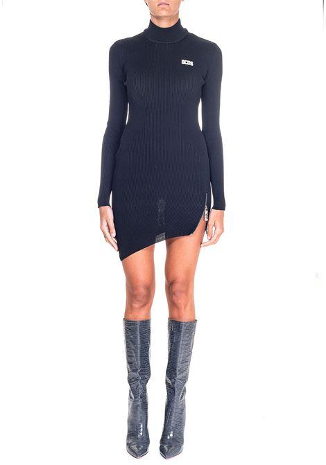 BLACK DRESS WITH FRONT LOGO APPLICATION GCDS | Dress | CC94W020301NERO