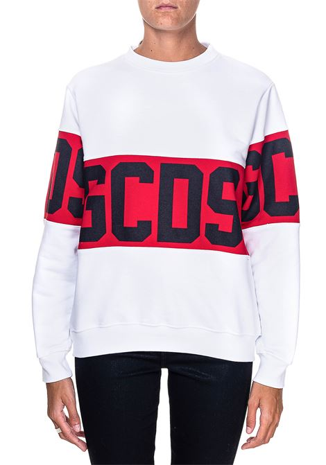 WHITE SWEATSHIRT IN COTTON WITH LOGO PRINT GCDS | Sweatshirts | CC94W021056BIANCO