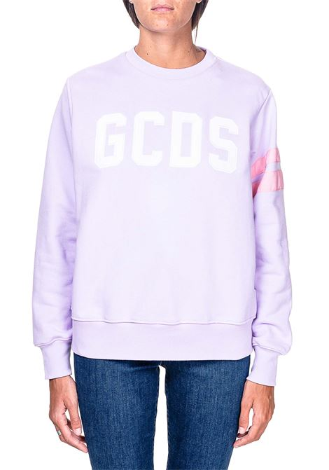 PURPLE COTTON SWEATSHIRT WITH LOGO INLAY GCDS | Sweatshirts | CC94W021057VIOLA