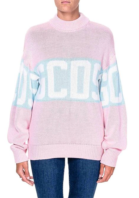 PINK WOOL BLEND SWEATER WITH LOGO INLAY GCDS | Sweaters | CC94W021114ROSA