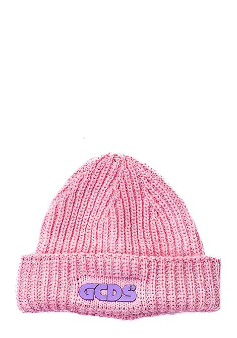 PINK WOOL BLEND HAT WITH FRONT LOGO APPLICATION GCDS | Hats | FW21M010029ROSA
