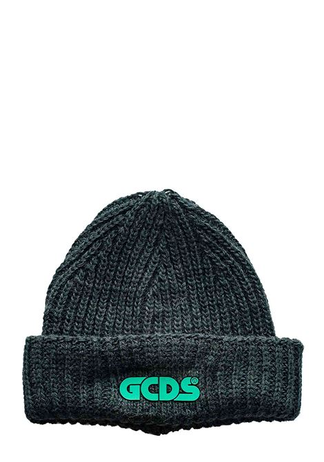 GREEN WOOL BLEND HAT WITH FRONT LOGO APPLICATION GCDS | Hats | FW21M010029VERDE