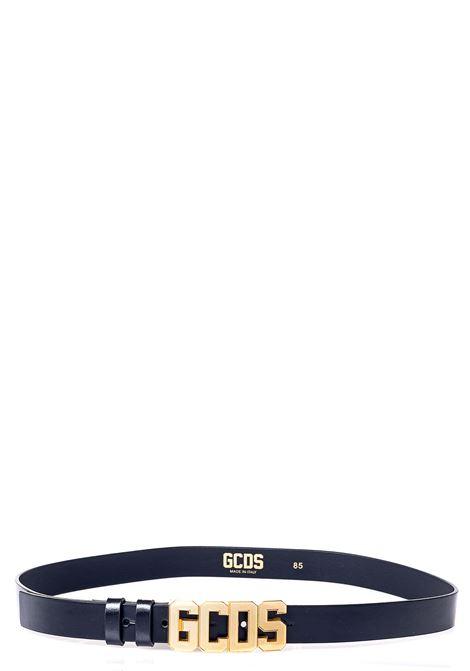 CINTURA NERA CON APPLICAZIONE LOGO GCDS | Cinture | FW21M010059NERO/ORO