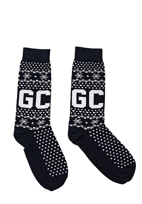 BLACK COTTON SOCKS WITH FRONT LOGO EMBROIDERY GCDS | Socks | FW21M010076NERO