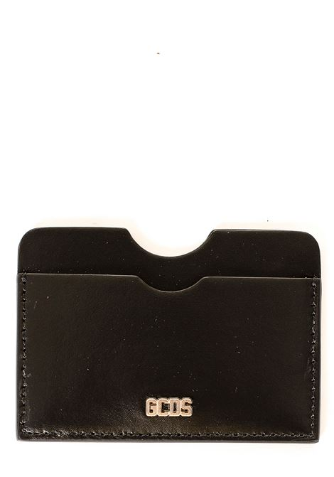 BLACK LEATHER CARD HOLDER WITH FRONT LOGO APPLICATION GCDS | Card Holder | FW21M010090NERO